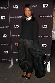 Genevieve Jones topped off her monochromatic look with this pair of black harem pants.