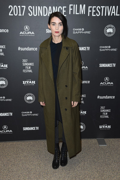 Rooney Mara looked tough in black combat boots and an oversized coat at the Sundance premiere of 'The Discovery.'