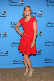 Anastasia Phillips chose a classic candy apple red frock with classic cap sleeves and a flouncy skirt.