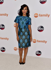 Kerry Washington looked classy in her Mary Katrantzou ensemble, a blue baroque-print top layered over a matching dress, during the Disney Group's Summer TCA Press Tour.