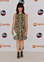 Bellamy Young went retro in an abstract-print shift dress during the Disney Group's Summer TCA Press Tour.