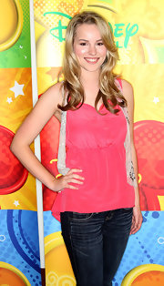 Bridgit Mendler was casual but cute in a hot pink sleeveless blouse.