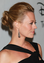 The actress showed off a pair of dangling earrings with an elegant updo.