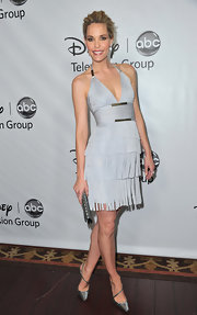 Leslie Bibb looked fab in a gray fringed dress for the Disney Winter Press Tour.