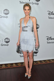 Leslie Bibb topped off her fringed frock with satin pumps.