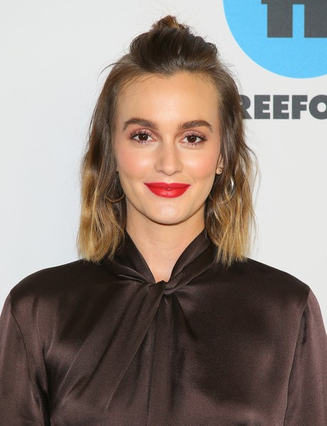 More Pics of Leighton Meester Red Lipstick (2 of 3) - Makeup Lookbook - StyleBistro [abc television hosts tca winter press tour 2019 - arrivals,hair,face,lip,hairstyle,eyebrow,beauty,chin,brown hair,blond,long hair,leighton meester,pasadena,california,disney]