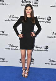 Meghan Ory chose a long-sleeve LBD for her look at the Disney Media Upfront event in Burbank.