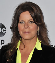 Marcia Gay Harden arrived at the Disney Media Networks International Upfronts wearing diamond-encrusted hoop earrings.
