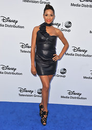Dania Ramirez's black leather dress featured a cool neck strap and a ruffled piece.