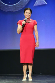 Julia Louis-Dreyfus kept it simple yet stylish in a raspberry sheath dress at the Disney Studios Showcase Presentation during D23 Expo.