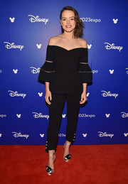 Daisy Ridley looked simply lovely in a black Lela Rose off-the-shoulder top with bell sleeves during Disney's D23 Expo 2017.