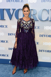 Sarah Jessica Parker looked every bit the star of the show in this frilly purple Dolce & Gabbana lace dress with an ornately beaded bodice during the New York premiere of 'Divorce.'