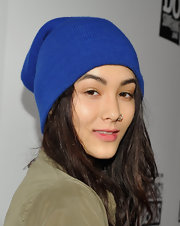 Fivel Stewart attended the 'Teens for Jeans' party with her messy hair partially tamed by a knit beanie.