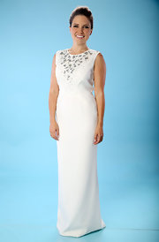 Sophia looked regal in this white column dress with silver embellishments.