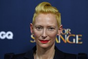 Tilda Swinton looked super cool with her sculpted fauxhawk at the 'Doctor Strange' launch event.