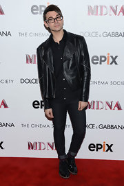 Christian Siriano wore a classic black leather jacket to top off his all-black ensemble.