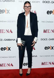 Jenna Lyons sported a classic navy pantsuit with an oversized blazer and tapered pants at the 'Madonna: The MDNA Tour' premiere.