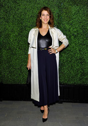 Kate Walsh arrived for the Domino x Nathan Turner event wearing an ivory duster coat over a black leather top.