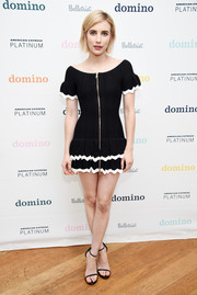 Emma Roberts was a cutie in a black Alice McCall mini dress with a tiered skirt and scalloped white trim at the Domino x American Express Platinum event.