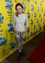 Brie Larson's crew neck sweater added a bit of a casual vibe to her look at the premiere of 'Don Jon's Addiction' at SXSW.