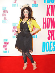 Alannah Hill added a burst of color to her Madonna inspired look with a embellished yellow cardigan.