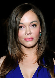 Rose McGowan wore a creamy pink lipstick at the Donna Karan fall 2012 fashion show.
