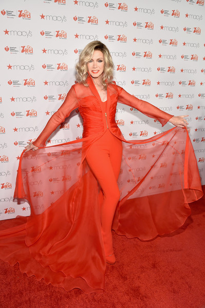 Donna Mills Evening Coat [clothing,red,dress,carpet,orange,red carpet,flooring,fashion model,beauty,gown,go red for women red dress collection 2015,donna mills,lincoln center,new york city,american heart association go red for women red dress collection,macys,red carpet,mercedes-benz fashion week,fashion show]