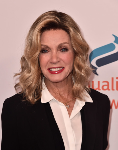 Donna Mills Medium Wavy Cut [beauty,hairstyle,chin,blond,long hair,smile,layered hair,brown hair,hair coloring,formal wear,arrivals,donna mills,beverly hills,california,the beverly hilton hotel,equality now,annual make equality reality gala]