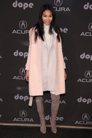 Chanel Iman bundled up so chicly in a pale pink Max Mara wool coat during the 'Dope' after-party.