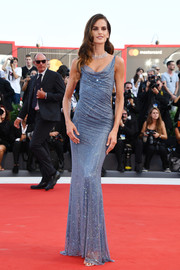 Izabel Goulart showed off her super-slim physique in this draped periwinkle column dress by Alberta Ferretti at the Venice Film Festival opening ceremony.