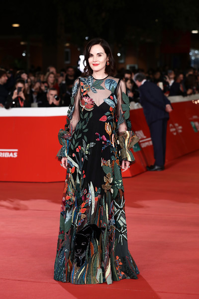 Michelle Dockery looked delightful in a floral sequined gown by Valentino at the Rome Film Fest screening of 'Downton Abbey.'