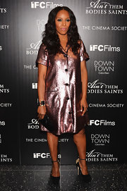 June's metallic pink shirt dress sparkled at the 'Ain't Them Body Saint' screening in NYC.