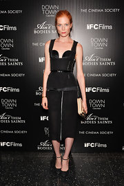 Jessica's corseted LBD had a contemporary edge to it at the NYC screening of 'Ain't Them Body Saints.'