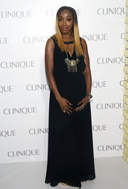 Estelle wore a floor-length black maxi to the Dramatically Different Party in NYC.