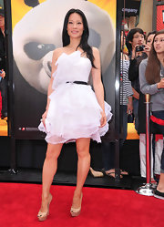 Lucy Liu teamed her flouncy white dress with nude platform pumps at the premiere of 'Kung Fu Panda 2.'