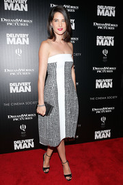 Cobie Smulders hit the red carpet wearing a sophisticated black-and-white strapless dress by Reed Krakoff during the 'Delivery Man' screening in NYC.