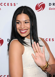 Jordin Sparks styled her raven tresses into a sleek and straight style, featuring a chic center part.