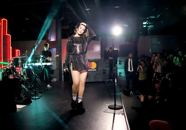 Dua Lipa Mini Dress [dua lipa,mastercard,billboard,performance,fashion,public event,event,stage,performing arts,fashion show,fashion model,performance art,leg,new york city,mastercard house]