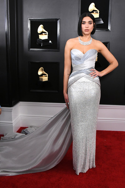 Dua Lipa Strapless Dress [gown,red carpet,carpet,dress,clothing,hair,flooring,fashion model,bridal party dress,shoulder,arrivals,grammy awards,staples center,los angeles,california,dua lipa,annual grammy awards]