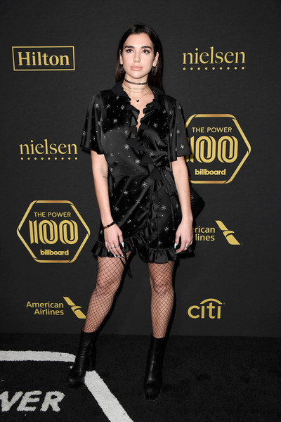 Dua Lipa Wrap Dress [clothing,fashion model,fashion,dress,footwear,little black dress,leg,carpet,premiere,joint,dua lipa,red carpet,billboard power 100,cecconi,west hollywood,california,billboard]