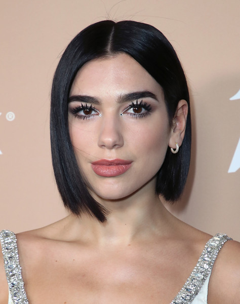 Dua Lipa Diamond Hoops [eyebrow,beauty,chin,hairstyle,lip,fashion model,eyelash,black hair,cheek,forehead,beauty,hairstyle,eyebrow,chin,lip,california,variety,dua lipa,2nd annual hitmakers brunch - arrivals,2nd annual hitmakers brunch,dua lipa,2018 mtv europe music awards,kiis-fm jingle ball,singer,lookbook,beauty,dua,2018]