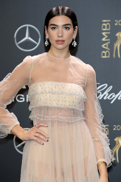 Dua Lipa French Manicure [red carpet arrivals,dua lipa,bambi awards,70th bambi awards,clothing,dress,shoulder,hairstyle,fashion model,beauty,fashion,strapless dress,joint,cocktail dress,stage theater,berlin,germany]