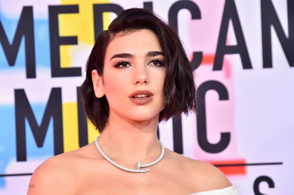 Dua Lipa Bob [hair,face,eyebrow,hairstyle,beauty,lip,skin,chin,cheek,forehead,arrivals,american music awards,microsoft theater,los angeles,california,dua lipa]