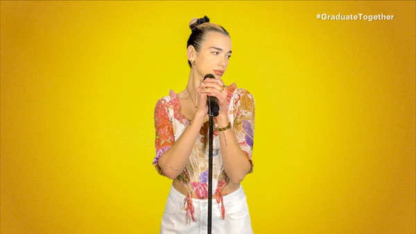 Dua Lipa Corset Top [together: america honors the high school class,graduate together: america honors the high school class,yellow,singing,performance,singer,song,performing arts,photography,gesture,singer,screengrab,photography,gesture,yellow,unspecified,united states,dua lipa,teenage girl,pretty blonde,yellow,stock photography,massachusetts institute of technology,photography,wall,uber technologies inc,gesture]