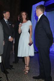 Kate Middleton was '50s-chic in a pale-blue fit-and-flare dress by Preen at the reopening of Hintze Hall.