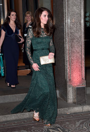 Kate Middleton was the picture of elegance in a forest-green lace gown by Temperley London at the Portrait Gala 2017.