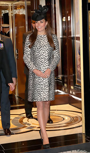 Kate Middleton continued her stylish coat history with this dalmatian-print coat.