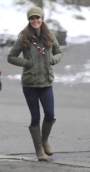 Kate Middleton chose a pair of green rubber boots for her daytime look while visiting the Great Tower Scout camp.