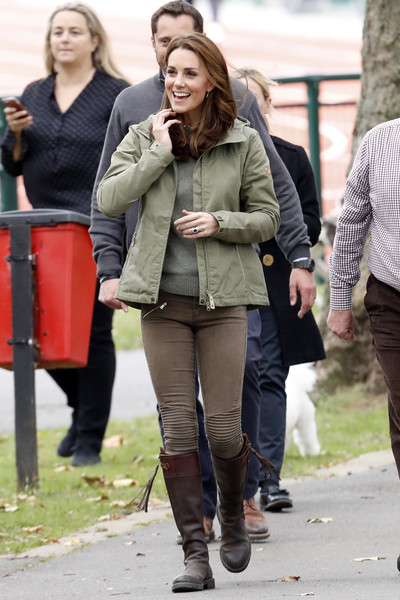 Kate Middleton kept it casual in a green Fjallraven utility jacket and brown skinny pants while visiting Sayers Croft Forest School.