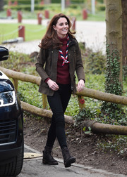 Kate Middleton kept it casual in skinny pants and a utility jacket while visiting Gilwell Park.